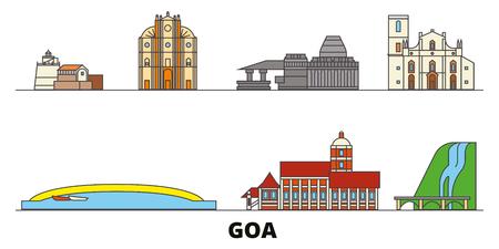India, Goa flat landmarks vector illustration. India, Goa line city with famous travel sights, design skyline.