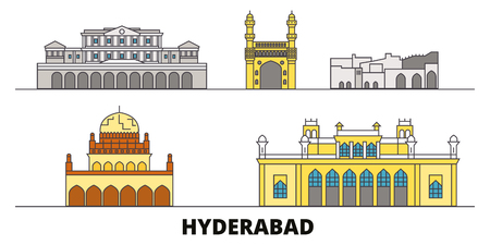 India, Hyderabad flat landmarks vector illustration. India, Hyderabad line city with famous travel sights, design skyline. Vetores