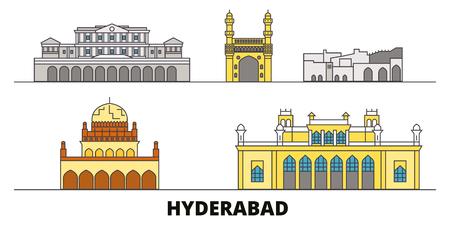 India, Hyderabad flat landmarks vector illustration. India, Hyderabad line city with famous travel sights, design skyline.