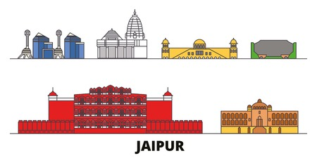 India, Jaipur flat landmarks vector illustration. India, Jaipur line city with famous travel sights, design skyline.