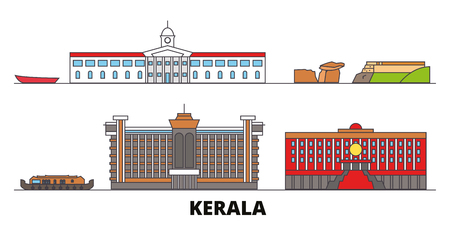 India, Kerala flat landmarks vector illustration. India, Kerala line city with famous travel sights, design skyline. Illustration
