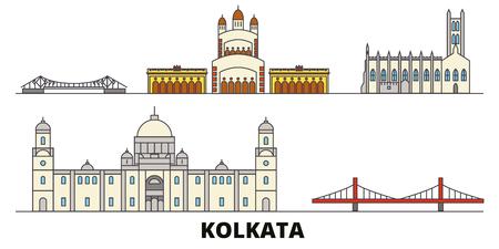 India, Kolkata flat landmarks vector illustration. India, Kolkata line city with famous travel sights, design skyline. Illustration