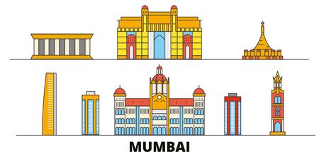 India, Mumbai flat landmarks vector illustration. India, Mumbai line city with famous travel sights, design skyline.
