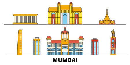 India, Mumbai flat landmarks vector illustration. India, Mumbai line city with famous travel sights, design skyline. Illustration