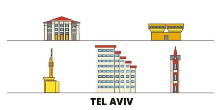 Istael, Tel Aviv flat landmarks vector illustration. Istael, Tel Aviv line city with famous travel sights, design skyline.