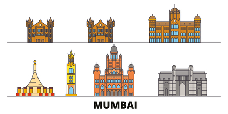 India, Mumbai 2 flat landmarks vector illustration. India, Mumbai 2 line city with famous travel sights, design skyline.