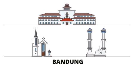 Indonesia, Bandung flat landmarks vector illustration. Indonesia, Bandung line city with famous travel sights, design skyline.