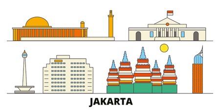 Indonesia, Jakarta flat landmarks vector illustration. Indonesia, Jakarta line city with famous travel sights, design skyline.