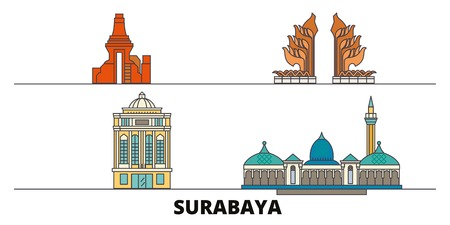 Indonesia, Surabaya flat landmarks vector illustration. Indonesia, Surabaya line city with famous travel sights, design skyline.
