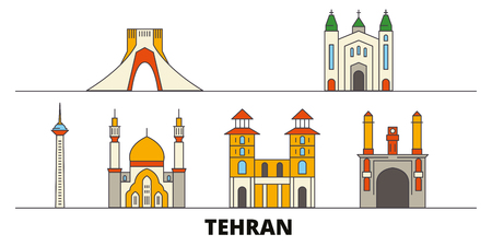Iran, Tehran flat landmarks vector illustration. Iran, Tehran line city with famous travel sights, design skyline.