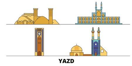 Iran, Yazd flat landmarks vector illustration. Iran, Yazd line city with famous travel sights, design skyline.