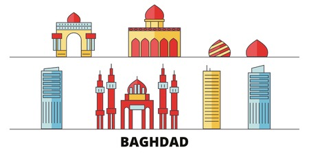 Iraq, Baghdad flat landmarks vector illustration. Iraq, Baghdad line city with famous travel sights, design skyline.