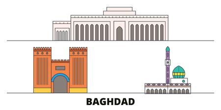 Iraq, Baghdad City flat landmarks vector illustration. Iraq, Baghdad City line city with famous travel sights, design skyline.