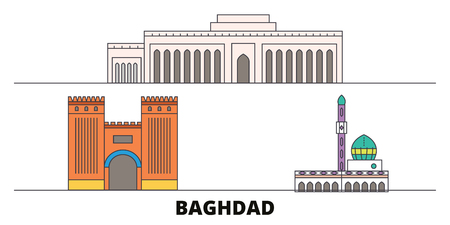 Iraq, Baghdad City flat landmarks vector illustration. Iraq, Baghdad City line city with famous travel sights, design skyline.