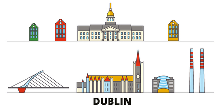 Irland, Dublin flat landmarks vector illustration. Irland, Dublin line city with famous travel sights, design skyline.