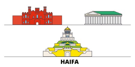 Israel, Haifa flat landmarks vector illustration. Israel, Haifa line city with famous travel sights, design skyline.