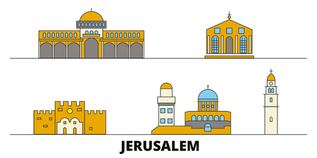 Israel, Jerusalem flat landmarks vector illustration. Israel, Jerusalem line city with famous travel sights, design skyline. Illustration