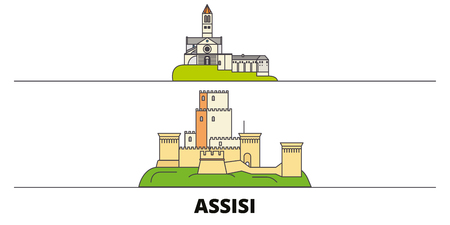 Italy, Assisi flat landmarks vector illustration. Italy, Assisi line city with famous travel sights, design skyline.