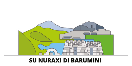 Italy, Barumini, Su Nuraxi Di Barumini  flat landmarks vector illustration. Italy, Barumini, Su Nuraxi Di Barumini  line city with famous travel sights, design skyline.
