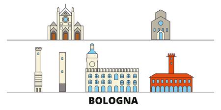 Italy, Bologna flat landmarks vector illustration. Italy, Bologna line city with famous travel sights, design skyline.