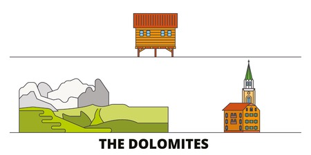 Italy, The Dolomites  flat landmarks vector illustration. Italy, The Dolomites  line city with famous travel sights, design skyline.