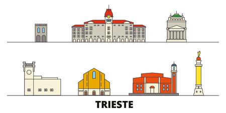 Italy, Trieste flat landmarks vector illustration. Italy, Trieste line city with famous travel sights, design skyline. Illustration