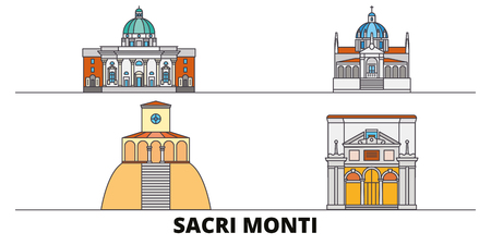 Italy, Piedmont And Lombardy, Sacri Monti flat landmarks vector illustration. Italy, Piedmont And Lombardy, Sacri Monti line city with famous travel sights, design skyline.
