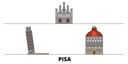 Italy, Pisa flat landmarks vector illustration. Italy, Pisa line city with famous travel sights, design skyline.