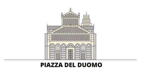 Italy, Pisa, Piazza Del Duomo flat landmarks vector illustration. Italy, Pisa, Piazza Del Duomo line city with famous travel sights, design skyline.