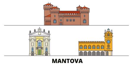 Italy, Mantova flat landmarks vector illustration. Italy, Mantova line city with famous travel sights, design skyline.