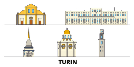 Italy, Turin flat landmarks vector illustration. Italy, Turin line city with famous travel sights, design skyline.