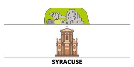 Italy, Syracuse City flat landmarks vector illustration. Italy, Syracuse City line city with famous travel sights, design skyline. Ilustrace