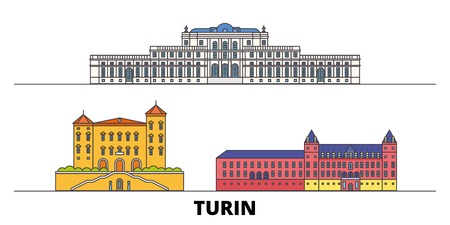 Italy, Turin, Residences Of The Royal House Of Savoy flat landmarks vector illustration. Italy, Turin, Residences Of The Royal House Of Savoy line city with famous travel sights, design skyline.