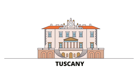 Italy, Tuscany, Medici Villas And Gardens flat landmarks vector illustration. Italy, Tuscany, Medici Villas And Gardens line city with famous travel sights, design skyline. 免版税图像 - 120280065