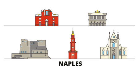 Italy, Naples flat landmarks vector illustration. Italy, Naples line city with famous travel sights, design skyline.