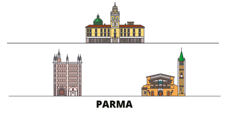 Italy, Parma flat landmarks vector illustration. Italy, Parma line city with famous travel sights, design skyline.