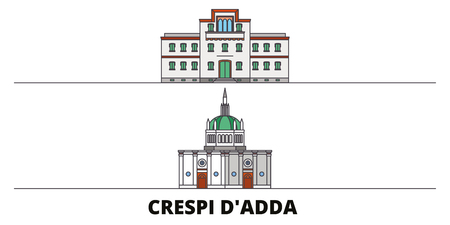 Italy, Crespi Dadda  flat landmarks vector illustration. Italy, Crespi Dadda  line city with famous travel sights, design skyline.  イラスト・ベクター素材
