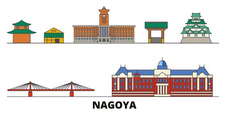 Japan, Nagoya flat landmarks vector illustration. Japan, Nagoya line city with famous travel sights, design skyline.