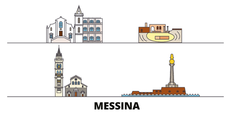 Italy, Messina flat landmarks vector illustration. Italy, Messina line city with famous travel sights, design skyline. Illustration