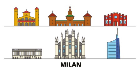 Italy, Milan flat landmarks vector illustration. Italy, Milan line city with famous travel sights, design skyline. Illusztráció