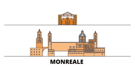 Italy, Monreale flat landmarks vector illustration. Italy, Monreale line city with famous travel sights, design skyline.