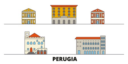 Italy, Perugia flat landmarks vector illustration. Italy, Perugia line city with famous travel sights, design skyline. Illustration
