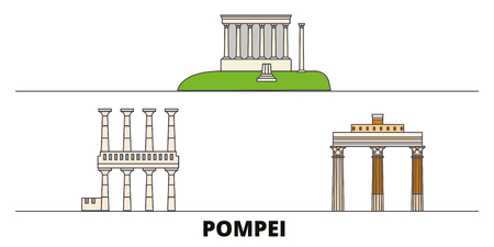 Italy, Pompei flat landmarks vector illustration. Italy, Pompei line city with famous travel sights, design skyline.