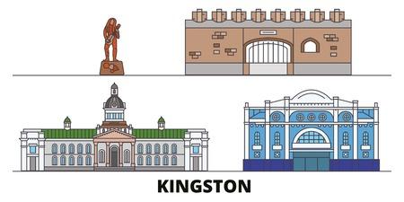 Jamaica, Kingston flat landmarks vector illustration. Jamaica, Kingston line city with famous travel sights, design skyline.
