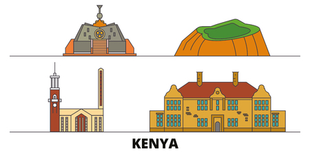 Kenya, Nairobi flat landmarks vector illustration. Kenya, Nairobi line city with famous travel sights, design skyline. 일러스트