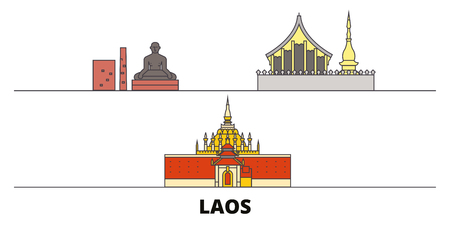 Laos flat landmarks vector illustration. Laos line city with famous travel sights, design skyline.