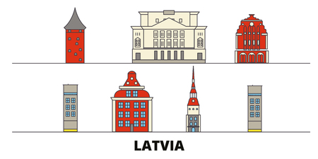 Latvia flat landmarks vector illustration. Latvia line city with famous travel sights, design skyline. 일러스트