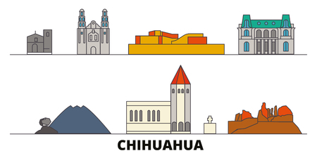 Mexico, Chihuahua flat landmarks vector illustration. Mexico, Chihuahua line city with famous travel sights, design skyline.  イラスト・ベクター素材