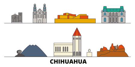Mexico, Chihuahua flat landmarks vector illustration. Mexico, Chihuahua line city with famous travel sights, design skyline. Illusztráció