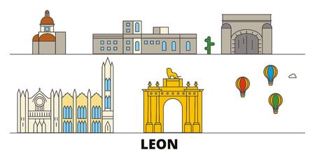 Mexico, Leon flat landmarks vector illustration. Mexico, Leon line city with famous travel sights, design skyline.